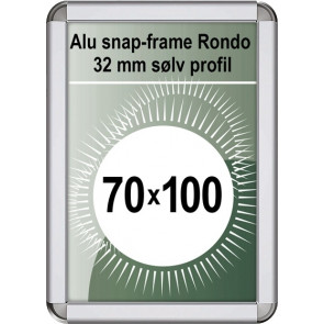 Snapramme Rondo - 32mm Profil - (B1) 70x100cm - Sølv