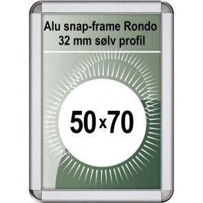 Snapramme Rondo - 32mm Profil - (B2) 50x70cm - Sølv