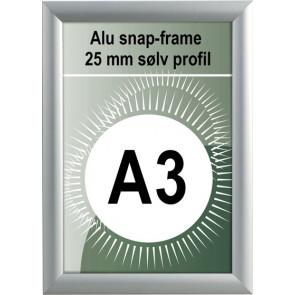 Udendørs Snapramme - 25mm Profil - (A3) 29.7x42cm - Sølv