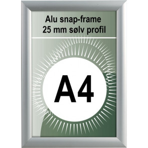 Udendørs Snapramme - 25mm Profil - (A4) 21x29.7cm - Sølv